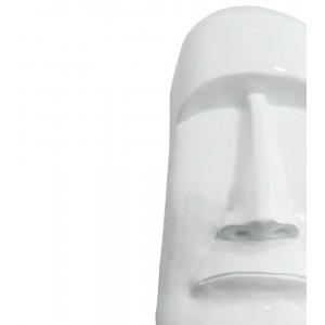 Statue tête îles de Pâques Moaï blanche laquée - style pop art - design moderne contemporain