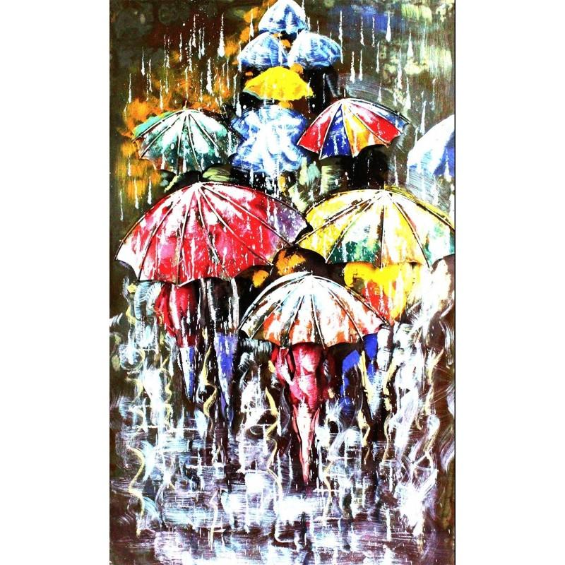 Tableau métallique en relief 3D Parapluies - décoration murale - Fabriqué à la main