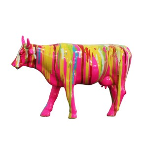 Sculpture vache multicolore - style design contemporain moderne