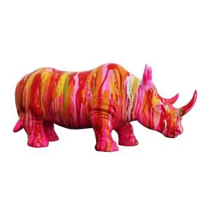 Sculpture rhinocéros rose et multicolore - style design contemporain moderne