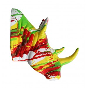 Tête rhinocéros multicolore corne jaune - décoration murale- objet design moderne