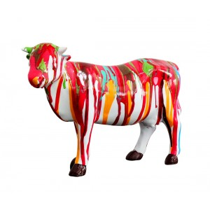 Sculpture vache décoration multicolore - style design contemporain moderne