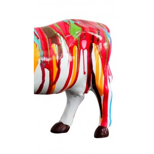Sculpture vache décoration multicolore - style design contemporain moderne
