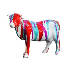 Sculpture vache décoration rouge bleue - style design contemporain moderne