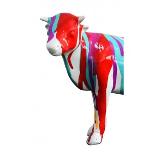 Sculpture vache décoration rouge bleue - style design contemporain moderne