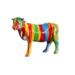 Sculpture vache décoration rayée multicolore - style contemporain moderne