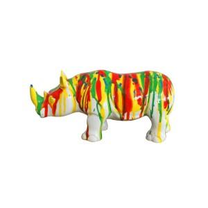 Sculpture rhinocéros décoration rayée multicolore - style contemporain moderne