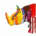 Sculpture rhinocéros décoration rayée multicolore corne jaune- style contemporain moderne