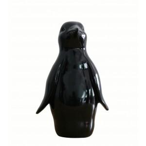 Statue pingouin noir décoration - design moderne contemporain