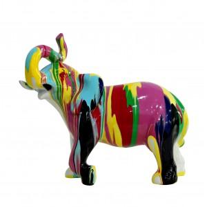 Statue éléphant décoration multicolore - style design moderne