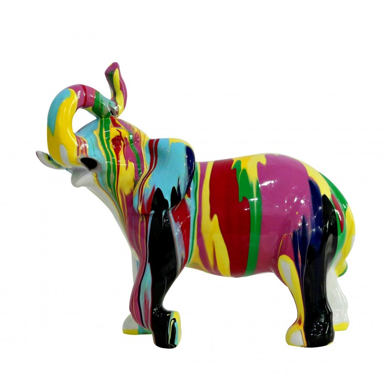 Statue l phant d coration multicolore style design moderne for Statue deco salon