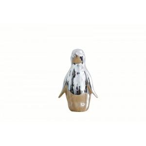 Statue pingouin argenté décoration - design moderne chic contemporain