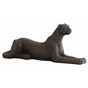 Statue panthère noire couchée texture perlée - design chic contemporain