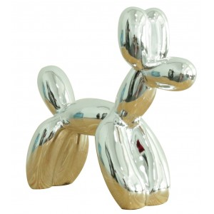 Petit chien argenté style BALOON - Figurine décorative - style Pop Art - objet design moderne
