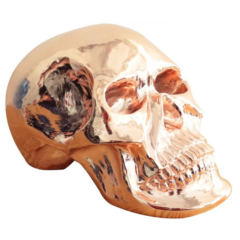 Crâne effet cuivré décoratif sculpture - objet design moderne