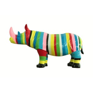 Sculpture rhinocéros rayé multicolore - design pop art - décoration moderne