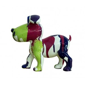 Petit chien sculpture décorative museau vert - design moderne contemporain