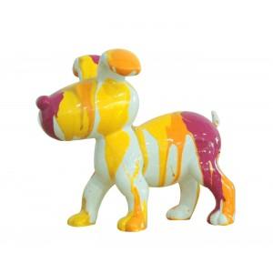 Petit chien sculpture décorative museau rose - design moderne contemporain