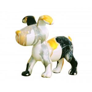 Petit chien sculpture décorative noire et jaune - design moderne contemporain