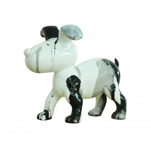 Petit chien sculpture décorative noire et blanc - design moderne contemporain