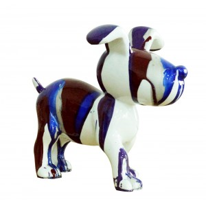 Petit chien sculpture décorative bleue et marron - design moderne contemporain