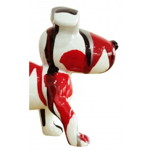 Petit chien sculpture décorative rouge design moderne contemporain