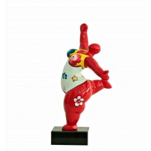 Statue femme rouge figurine danseuse décoration florale -  style pop art - objet design moderne