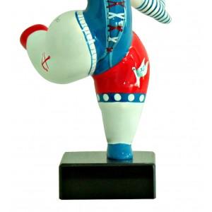 Statue femme blanche figurine danseuse décoration bleue et  rouge -  style pop art - objet design moderne
