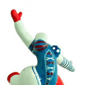 Statue femme blanche figurine danseuse décoration bleue et  rouge pop art
