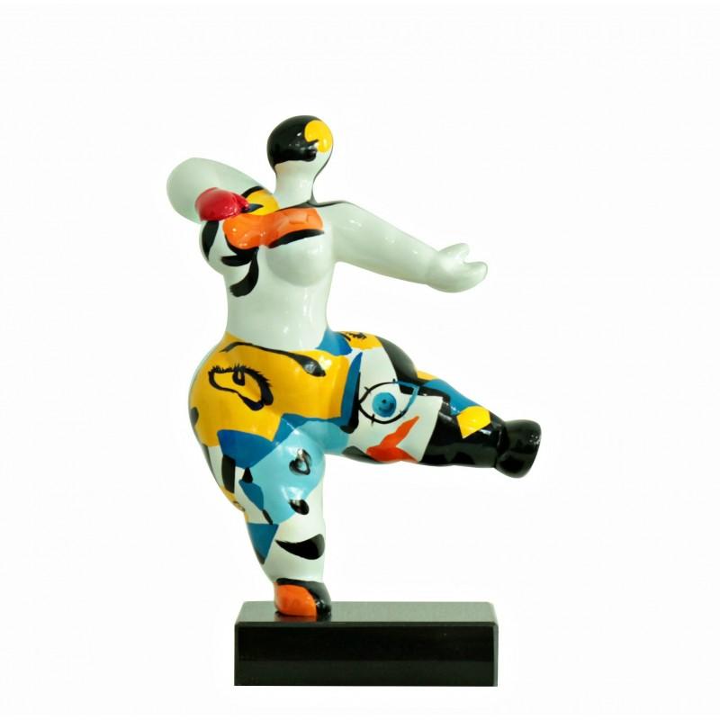 Statue femme blanche figurine danseuse multicolore pop art