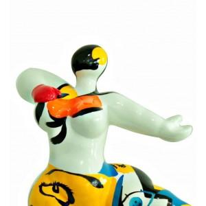 Statue femme blanche figurine danseuse décoration multicolore -  style pop art - objet design moderne