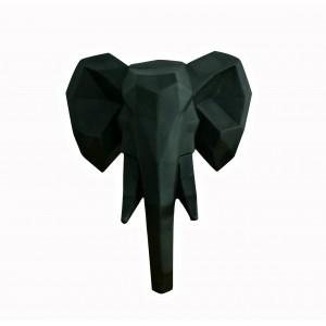 Tête éléphant noir mat décoration murale - style cubique - objet design moderne