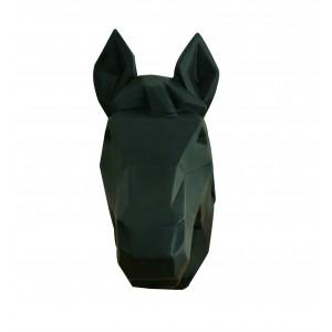 Tête cheval noir mat décoration murale - style cubique - objet design moderne