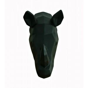 Tête rhinocéros noir mat décoration murale - style cubique - objet design moderne