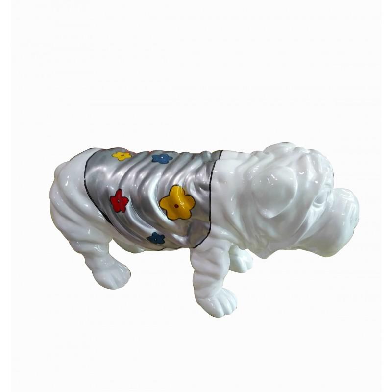 Statue chien bulldog blanc décoration florale - style pop art - objet design moderne