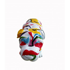 Statue chien bulldog blanc décoration multicolore - style pop art - objet design contemporain