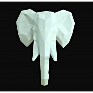 Statue tête éléphant blanc mat décoration murale - art cubique - style moderne contemporain