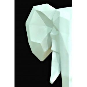 Statue t te l phant blanc mat d coration murale art cubique - Origami decoration murale ...