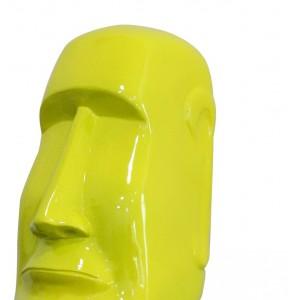 Statue tête laquée jaune îles de Pâques Moaï - style pop art - design moderne contemporain