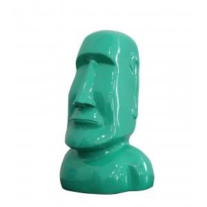 Statue tête îles de Pâques Moaï verte laquée - style pop art - design moderne contemporain