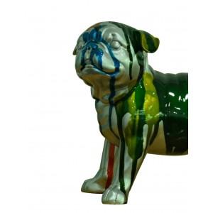 Petit chien bulldog figurine décorative - gris et multicolore - objet design moderne