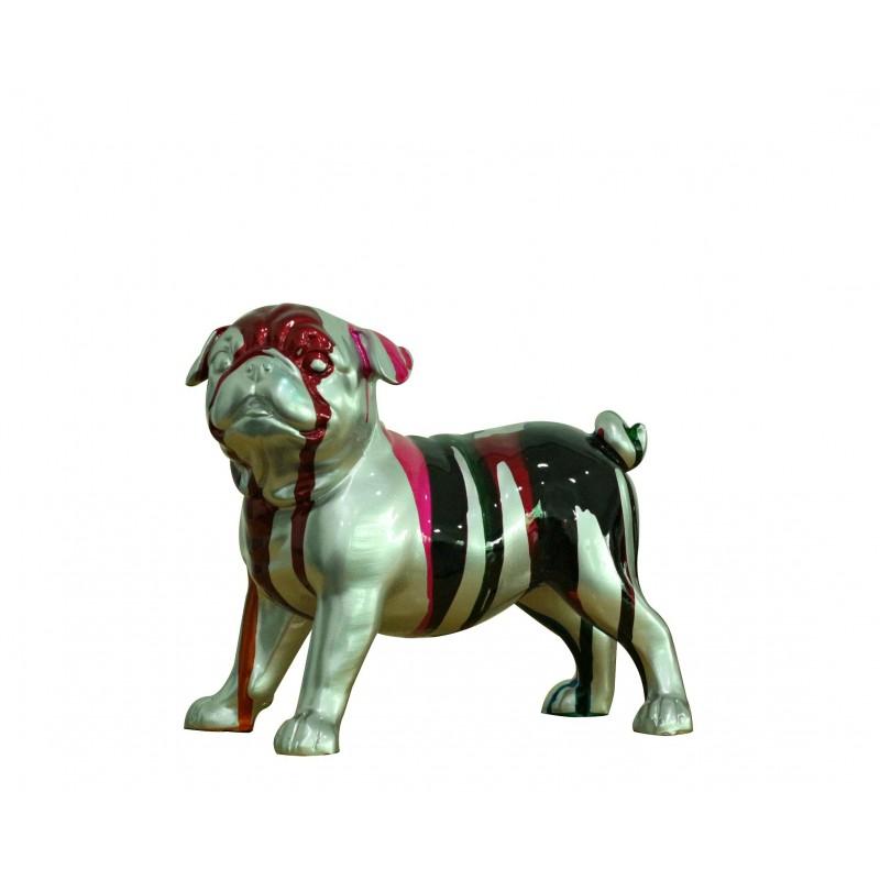 Petit chien bulldog figurine décorative gris rouge noire