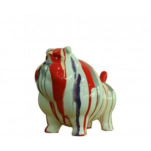 Gros chien bulldog figurine décorative - blanc et multicolore  - objet design moderne