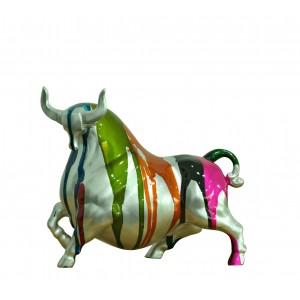 Statue taureau argenté décoration orange et multicolore - objet design moderne