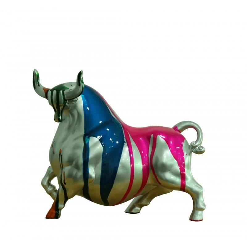 Statue taureau argenté décoration rose et multicolore - objet design moderne