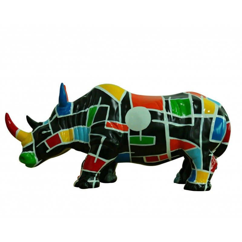 Super Statue rhinocéros décoration style pop art noir et multicolore LF09