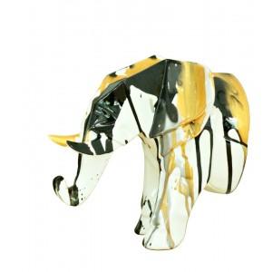 Tête éléphant blanc décoration murale avec jets de peintures dorées et noires - objet design moderne