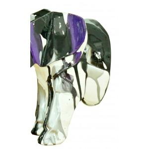 Tête éléphant blanc décoration murale avec jets de peintures noires et violets - objet design moderne