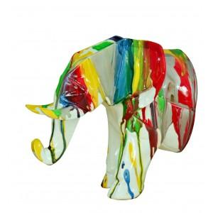 Tête éléphant blanc décoration murale avec jets de peintures multicolores - objet design moderne