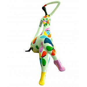 Statue femme figurine - décoration blanche et multicolore style pop art - objet design moderne